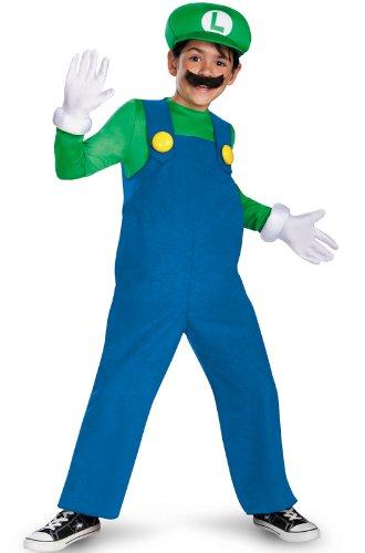 Boys Nintendos Super Mario Brothers Luigi Deluxe Costume 10-12