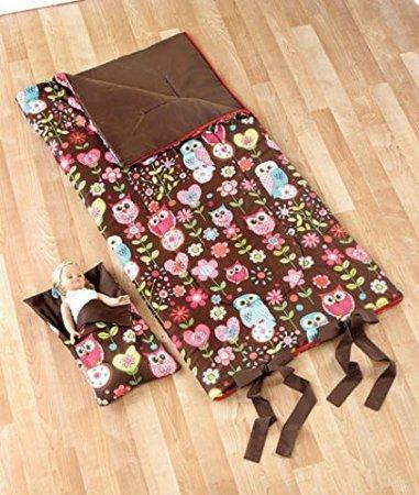 Girls Sleeping Bag with Matching 18 Baby Doll Sleeping Bag Owl - Brown and Pink