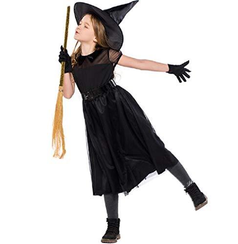 Kids Witch Costume - Halloween Children Black Mesh Witch Dress Girls Black Child Witch Costume