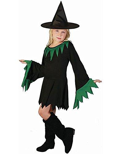 Rimi Hanger Kids Green Witch Children Costume Unisex Fancy Halloween Party Wear Costume Small 4-6 Years