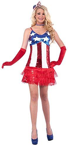 Forum Novelties Womens Patriotic Sequin Sparkle Costume Dress RedWhiteBlue MediumLarge