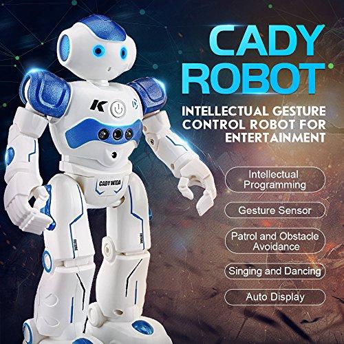 FILOL Smart Remote Control Robot Toy for Kids Rechargeable Interactive Gesture Sensing Robot for Boys Girls Singing Walking Dancing Infrared Sensing Robot Blue
