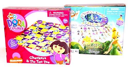 Nick Jrs Dora the Explorer Checkers Tic-Tac-Toe Disney Fairies Tinkerbell Bingo board game sets