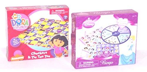 Nick Jrs Dora the Explorer Checkers Tic-Tac-Toe Disney Princess Bingo board game sets