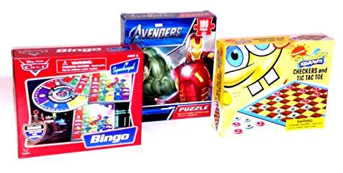 Nickelodeon Sponge Bob Squarepants Checkers Tic-Tac-Toe Disney Pixar Cars Bingo board game sets Marvel Avengers Puzzle