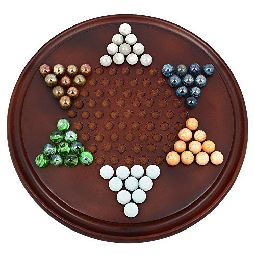 Handmade Wooden Chinese Checkers Game Set with Glass Marbles - Board Games for Families - Great Kids Gift Idea