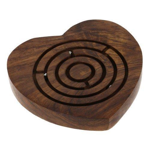 Wooden Maze Board Game - Handmade Heart Shape Board Game Labyrinth - Labyrinth Game Travel Pieces - 4 x 4