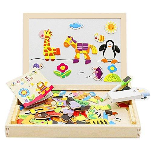 AM Seablue Kids Wooden Jigsaw Wooden Magnetic Board Puzzle Games Multi-functional Double Side JigsawDrawing Writing Easel Chalkboard
