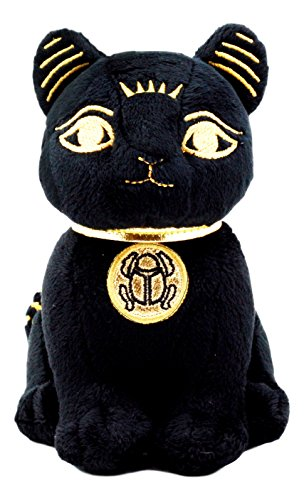 Ebros Black Gold Egyptian Small Scarab Amulet Bastet Cat Plush Toy Soft Doll Collectible 5 H