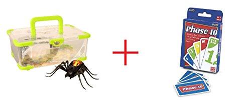 Moose Toys Wild Pets Season 1 Spider Habitat Playset and Phase 10 Card Game - Bundle