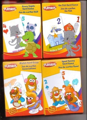 Playskool Crazy Eights Go Fish Match Spud Rummy Card Games 4-Pack