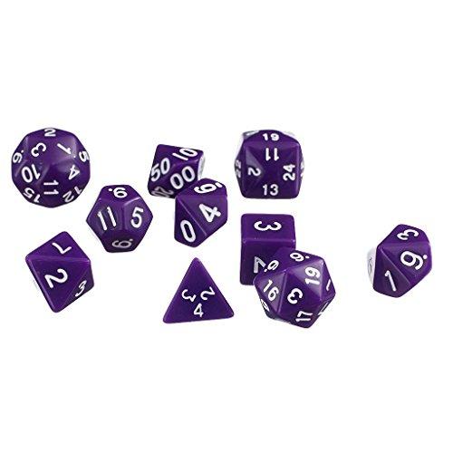 10pcsSet TRPG Games Dungeons Dragons D4-D30 Multi-Sided Dice Purple