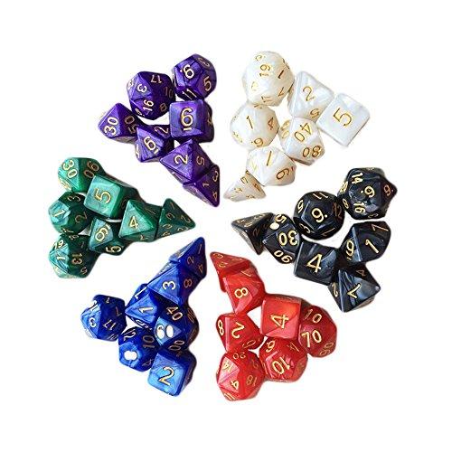 7pcsset TRPG Games Dungeons Dragons D4-D20 Multi-sided Toys Dices 6color