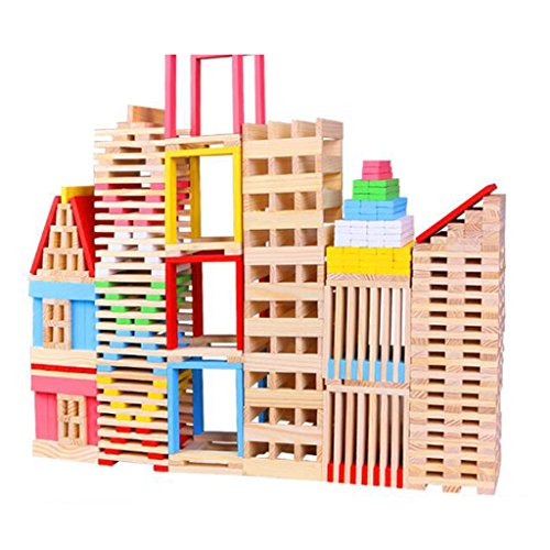 Children Wooden 150pcs Building Stacking Blocks Bricks Toy Construction Set Kids Domino Games