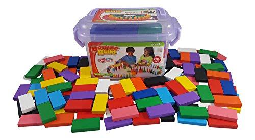 Bucket of Domino 200-piece Wooden Dominoes Building Blocks Kids Racing Toy Play Set