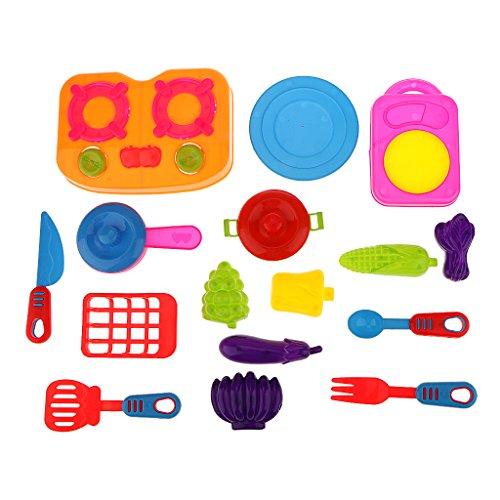Kitchen Cookware Vegetable Fruit Set Kids Children Role Play Pretend Toy Kit