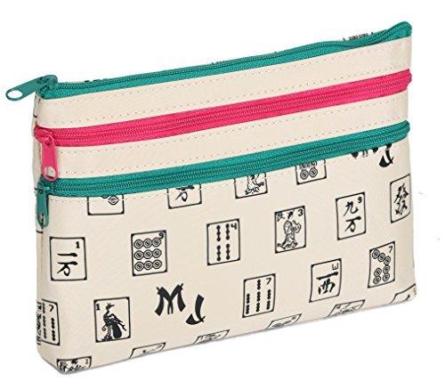 Mah Jongg Beige 3 Zipper Mah Jong Purse for Mahjong Card by Mah Jongg Direct