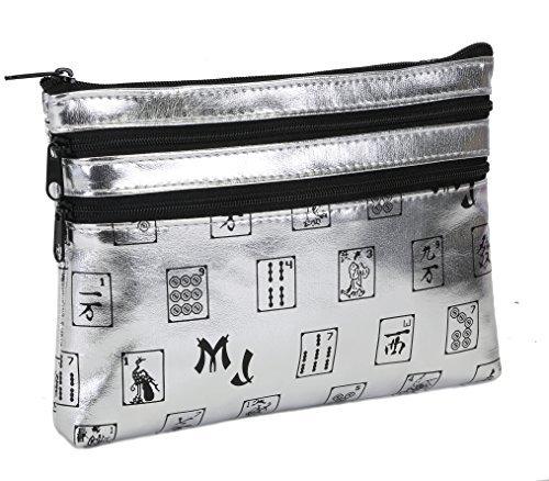 Mah Jongg Silver 3 Zipper Mah Jong Purse for Mahjong Card by Mah Jongg Direct