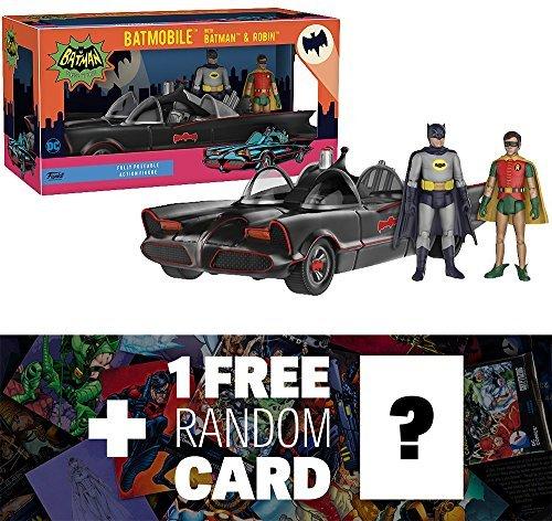Funko Batmobile with Batman Robin Action Figure x Batman Classic Series Mini Action Figure Set  1 Free Official DC Trading Card Bundle 12752