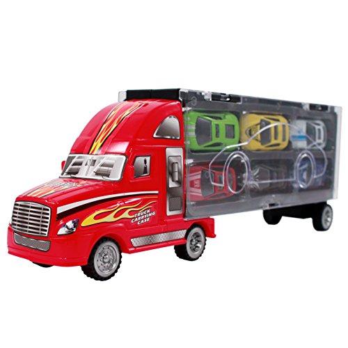 7pc Go Truckin Semi Truck Toy Diecast Race Car Carrier Set - Red