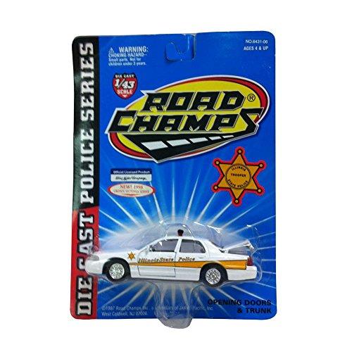 Road Champs Diecast Police Series Crown Victoria 143 Scale Illionois State Trooper White Car Replica
