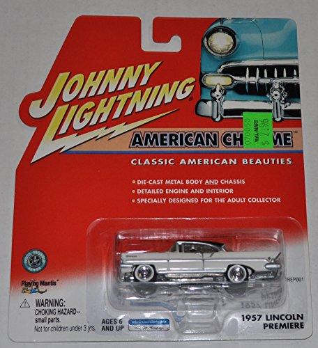 1957 Lincoln Premiere White - American Chrome - Johnny Lightning - Diecast Car