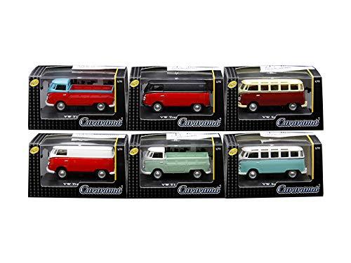 Cararama 711ND-021B 1-42 Volkswagen Cars in Display Cases Diecast Model Car44 Set of 6