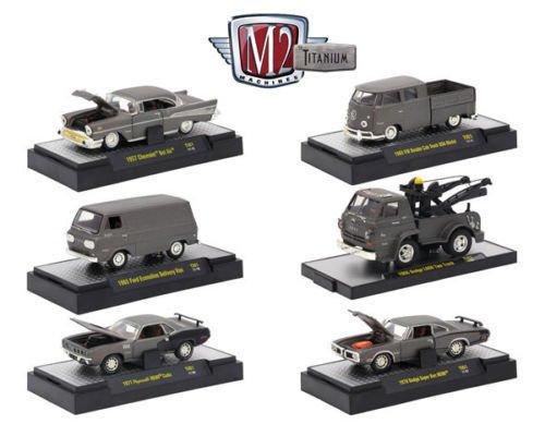 M2 Machines New 164 Titanium Collection - Titanium Release 1 Assortment Acrylic CASE Diecast Model Car Set of 6 Cars