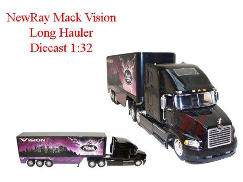 NewRay Diecast 132 Mack Vision Bulldog Long Hauler Trailer- PurpleBlack