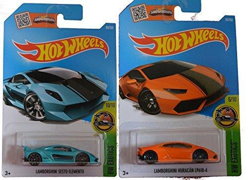 Hot Wheels 2016 Lamborghini Sesto Elemento Turquoise Orange Lamborghini Huracan LP610-4 2-Car Exotic Set