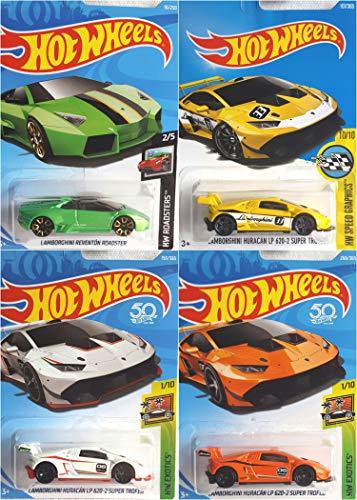 Hot Wheels Lamborghini Reventon Roadster Green 18250 Lamborghini Huracan LP 620-2 Super Trofeo Orange 268365 White 150365 and Yellow 107365 4 Car Bundle Set