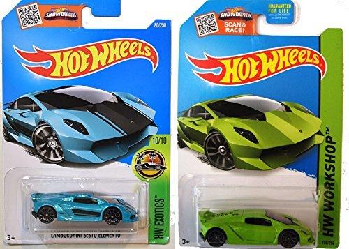 Hot Wheels Lamborghini Sesto Elemento 2-Car Set Lime Green and Turquoise