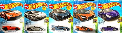 Hot Wheels Lamborghini and McLaren 5 Car Bundle Set Includes McLaren Senna McLaren 720s Centenario Roadster Aventador J