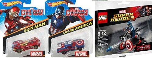 Lego Captain America Civil War Iron-Man Hot Wheels Car Set 2 Cars  Lego Super Heroes Civil War Captain America Motorcycle Mini Figure Marvel 30447