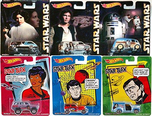 Star Wars Star Trek Pop Culture Hot Wheels Car Set Han Solo Princess Leia R2D2 Sulu Scotty LT Uhura
