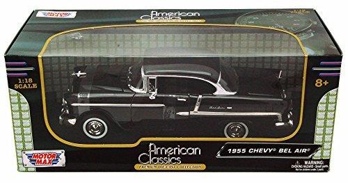1955 Chevy Bel Air Black - Motormax Premium American 73185 - 118 Scale Diecast Model Car