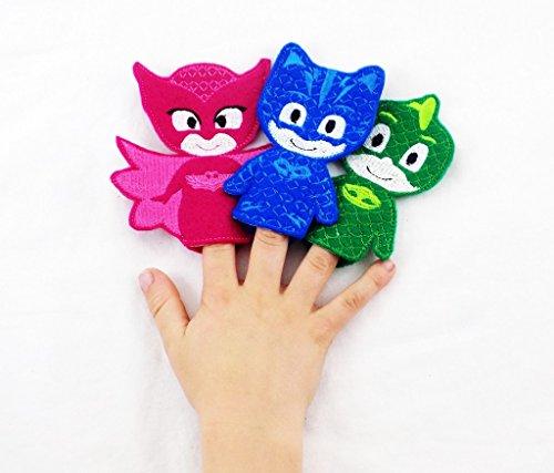 PJ Mask Themed Toy Finger Puppet Set of 3 Catboy Owlette Gekko
