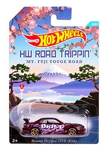 Hot Wheels Road Trippin Series - MT Fuji Touge Road - Nissan Skyline GT-R R34 - 9 of 21 Dark Purple Col by Hot Wheels