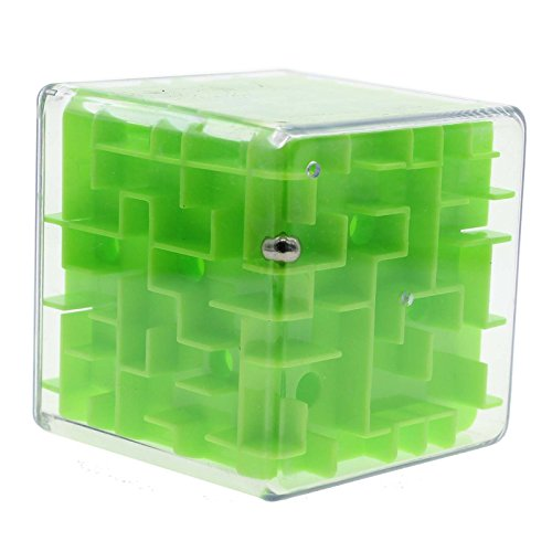 MMRM 3d Maze Magic Cube Labyrinth Rolling Twist Toy Challenging Puzzle Game for Adult Children - Green