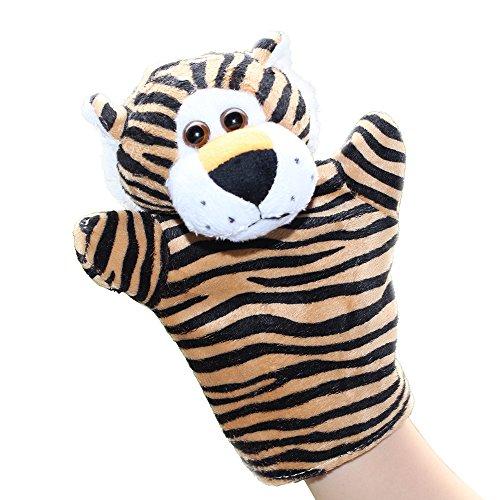 LUCKSTARTM 1PC Cute Velvet Animal Style Hand Finger Puppet Toy Plush Toy For Kids Preschool Kindergarten Tiger