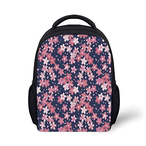 Navy and Blush Stylish BackpackDelicate Spring Theme Flourishing Sakura Petals Japanese Garden for School Travel94L x 35W x 122H