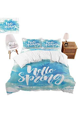 vroselv-home 4 Piece Bedding Set Pastel Blue Spring Theme Duvet Cover Set Quilt Bedspread for ChildrensKidsTeensAdults - California King SizeNO Comforter