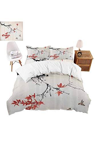 vroselv-home 4 Piece Bedding Set Romantic Spring Theme Duvet Cover Set Quilt Bedspread for ChildrensKidsTeensAdults - California King SizeNO Comforter