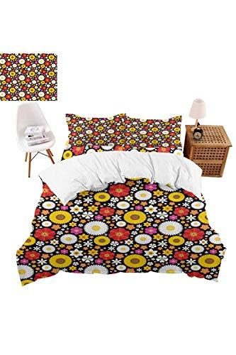 vroselv-home 4 Piece Bedding Set Spring Theme Daisies Christmas Decor Duvet Cover Set Quilt Bedspread for ChildrensKidsTeensAdults - California King SizeNO Comforter
