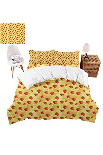 vroselv-home Luxury Durable Soft 4 Piece Duvet Cover Set Retro Spring Theme QuiltComforter Cover Bedspread Pillowcases for Childrens - Full SizeNO Comforter