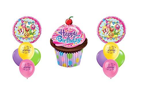 Shopkins Happy Birthday Cupcake Mylar Latex Balloon Bouquet