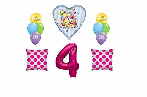 Team Shopkins Happy Birthday 4 Mylar Latex Balloon Bouquet