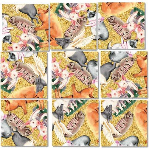 B Dazzle Pigs Scramble Squares 9 Piece Puzzle