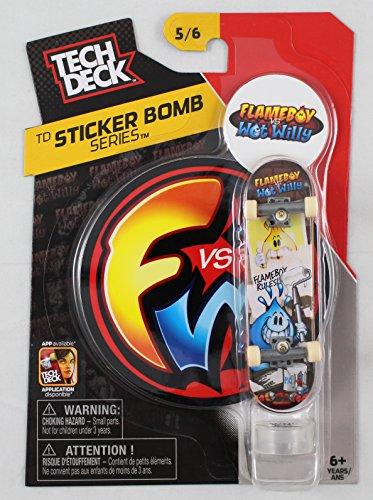 1 TECH DECK 96mm FINGERBOARD - FLAMEBOY VS WET WILLY BOARD Sticker Bomb Series 56 - New