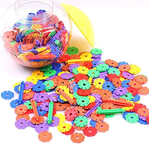 Ueasy Colorful Interlocking Plastic Discs Toy Building Blocks 600 Pieces